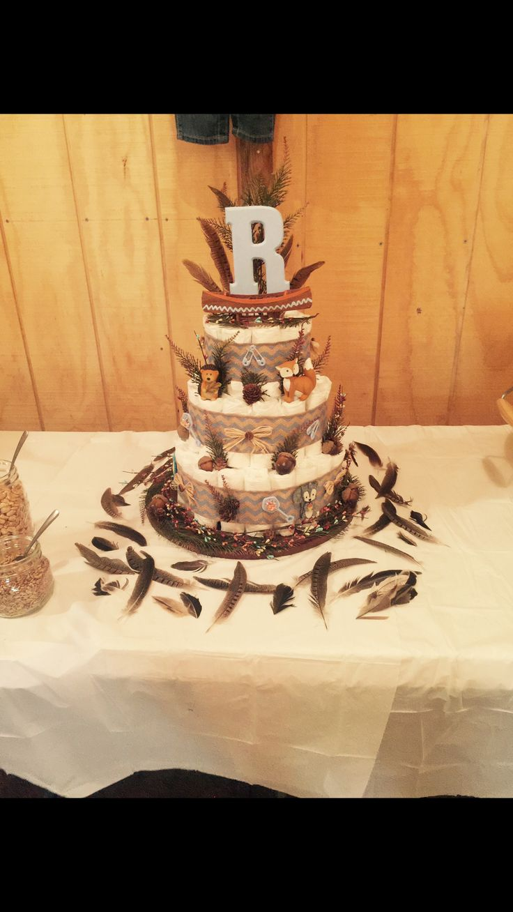 Rustic, woodland, country, baby boy diaper cake