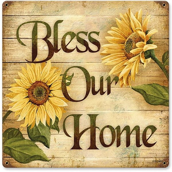 Bless Our Home Sunflower Welcome Steel Sign ($32) ❤ liked on Polyvore featuring home, home decor, wall art, welcome sign, country signs, steel wall art, welcome wall art and farmhouse home decor