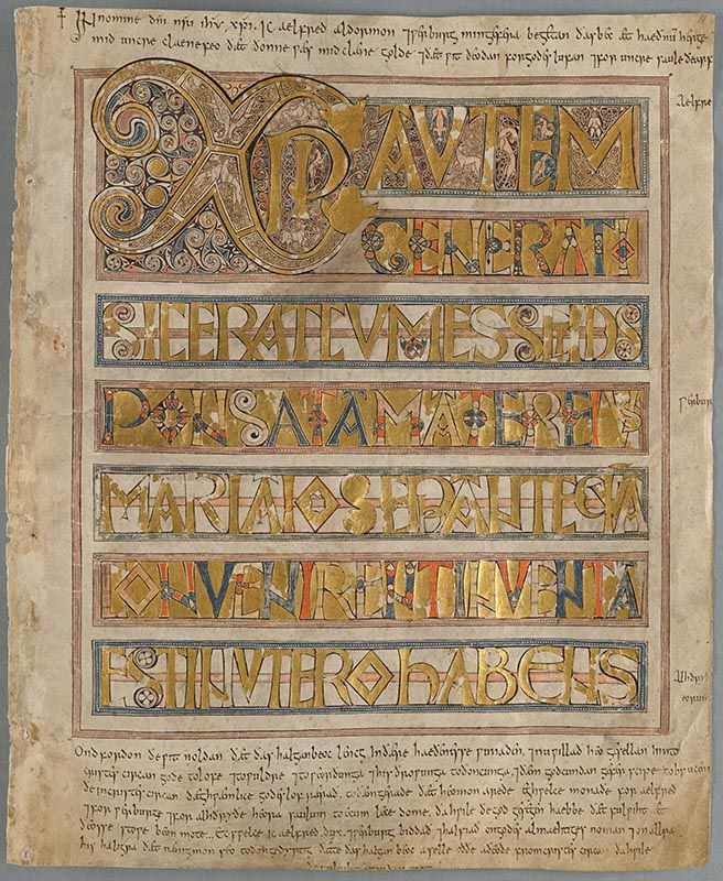 Week 5 c. Kungliga biblioteket, stockholm, sweden Codex Aureus, A 135, ca. 750 AD, parchment, 193 fol., Latin, light hand, Majuskul letters in gold and colours. Black light minuscul script around the justification lines in the upper and lower margin. (Looks like a Corbie or insular script, i'm not sure.) Even the ruling is decorated. pricking in left margin. (Alas I can't download the whole codex to review the other fol.) http://urn.kb.se/resolve?urn=urn:nbn:se:kb:handskrift-14860520