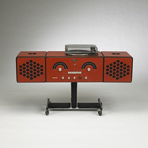 ACHILLE AND PIER GIACOMO CASTIGLIONI RR126 stereo Brionvega Italy, 1965 laminated wood, plastic, metal 36.25 w x 14 d x 23.5 h inches