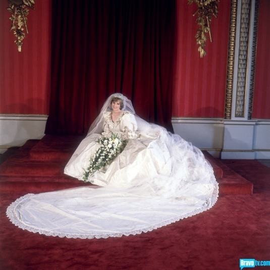 Quite possibly the wedding of the century, Princess Diana wore an equally larger-than-life dress to her wedding to Prince Charles (hey, it was the 80s). The train is 25 feet long, the longest in Royal wedding history.