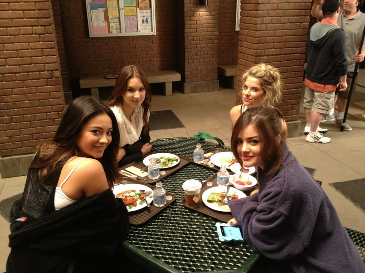 Ashley Benson, Lucy Hale, Shay Mitchell and Troian Bellisario on set Pretty Little Liars