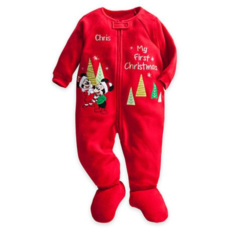 Mickey Mouse Blanket Sleeper for Baby - ''My First Christmas'' - Holiday - Personalizable