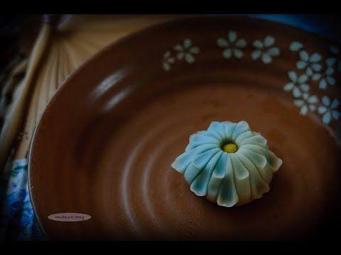 茶果子系列——凛菊 How to make wagashi-Blue Chrysanthemum