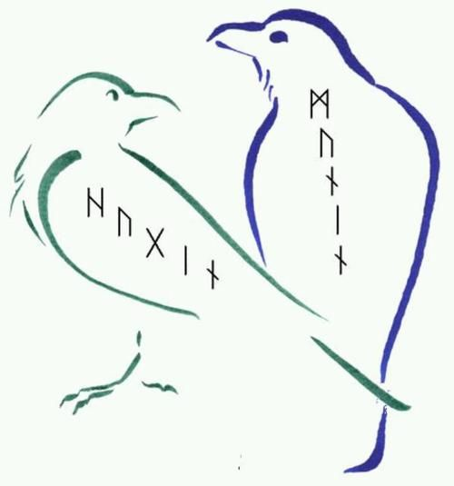 """Huginn (from Old Norse """"thought"""") and Muninn (Old Norse """"memory"""" or """"mind"""") are a pair of ravens that fly all over the world, Midgard, and bring information to the god Odin."""