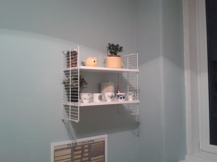 faux retro DIY string shelving IKEA hack made from shelves and a shoe rack