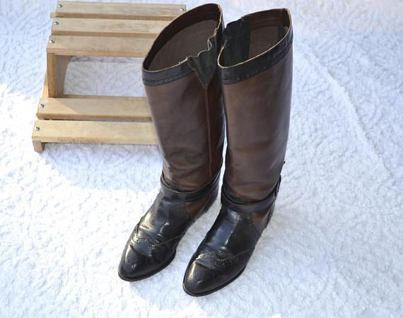 80s Leather Boots Pull On Riding Boots. Size 6.5 Boots in