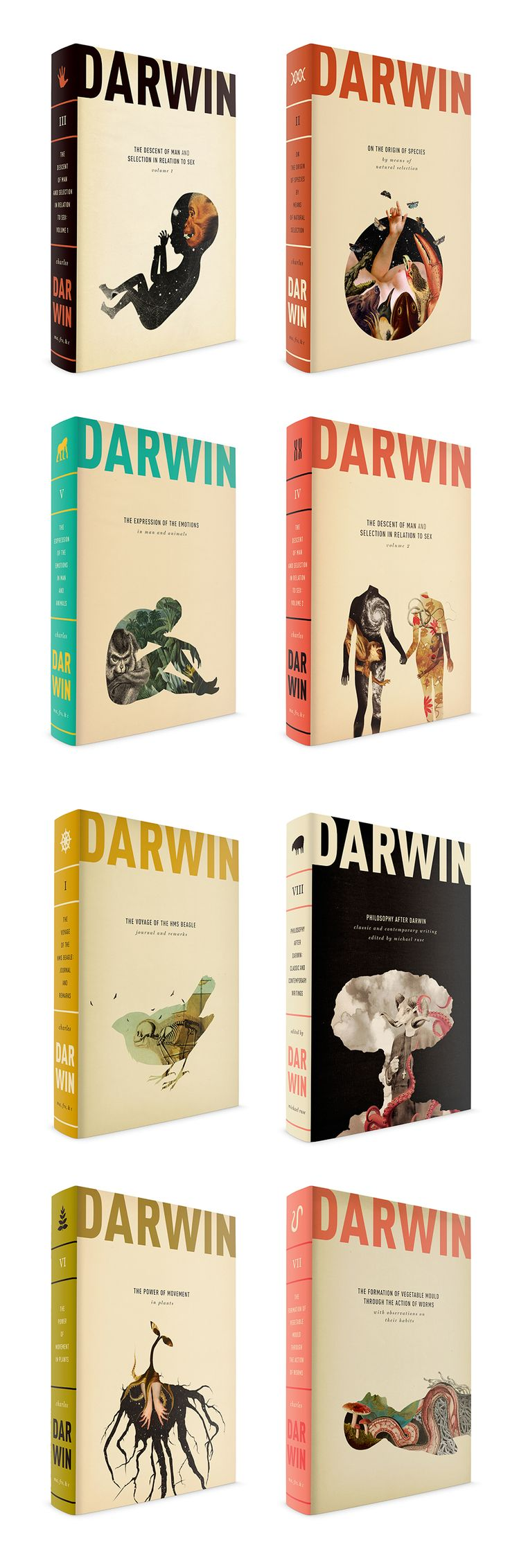 L'origine des espèces, Charles Darwin. Maquette : Caleb Heisey