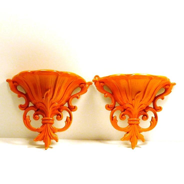 Orange ornate vintage wall pocket set