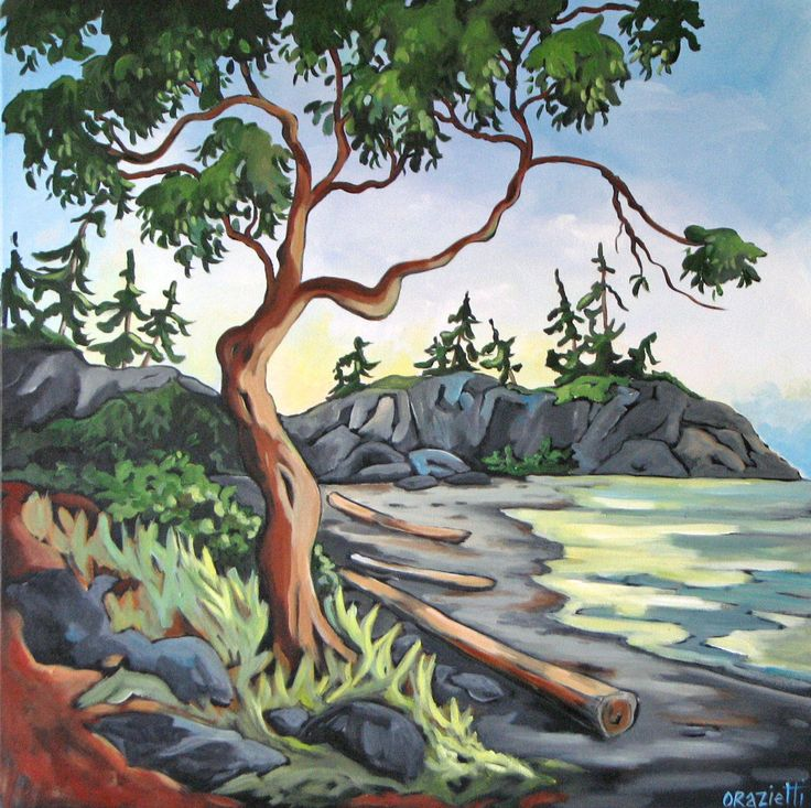 Arbutus on the Beach - West Coast Acrylic Painting