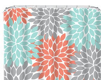 Coral Aqua Turquoise Shower Curtain Flowers Monogram CUSTOM You Choose Colors Gray Flower Burst Dahlia Bathroom Bath Made in the USA