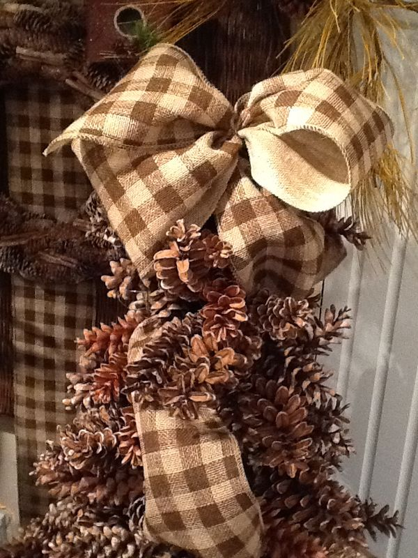 Pine cone tree with burlap check ribbon pine cone tree for Decorating pine cones for christmas tree