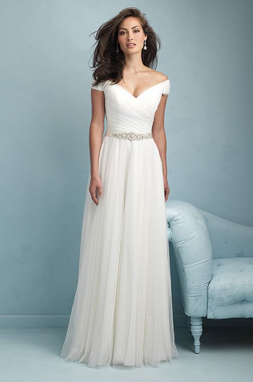 Romantic off-shoulder tulle wedding dress by Allure, 2015