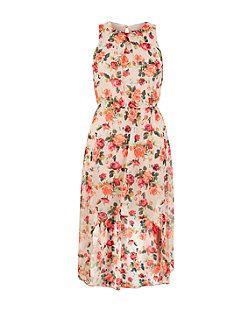 Teens White Chiffon Rose Print Dip Hem Dress   New Look