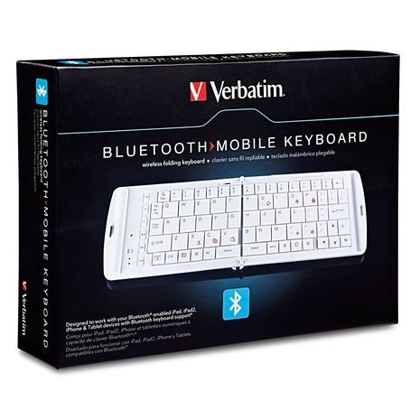 Verbatim 97872 Bluetooth Mobile Folding Keyboard - White