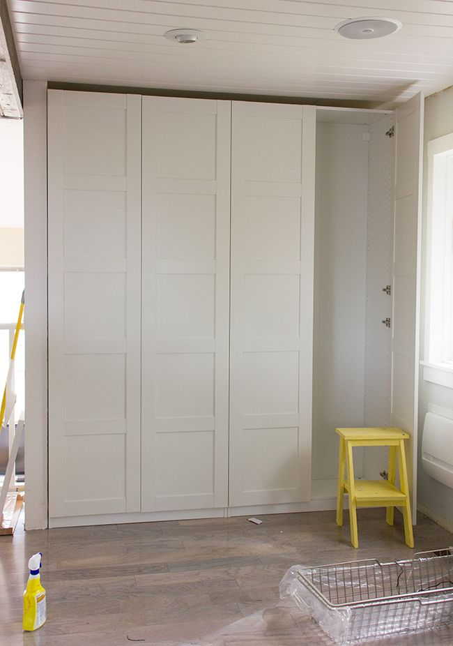The idea of creating a custom built-in pantry was the first thing that came to mind when I first laid eyes on this back wall in the kitchen:It was an ideal setup—hidden storage that's shallow…