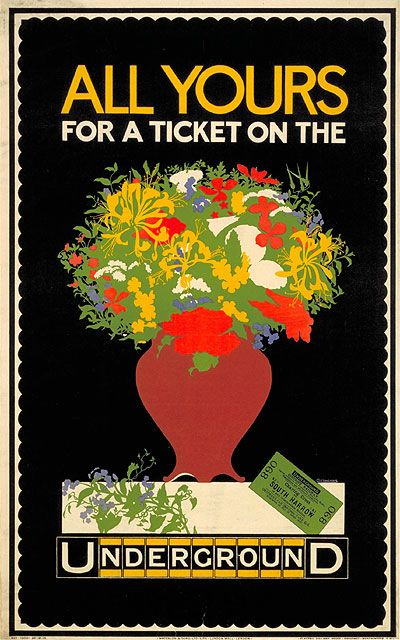 """London Underground poster: """"All Yours for a Ticket""""; by P Cottingham, 1916"""