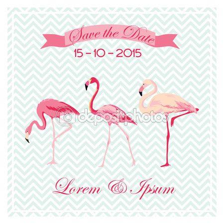 Сохранить Дата - Свадебная открытка с птицами Фламинго - в векторе — стоковая иллюстрация #66906147