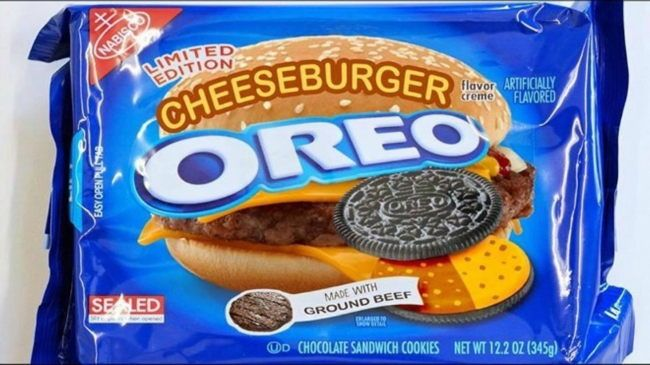 Cheeseburger Oreos - No, there is no such flavor. The photo originates from the Wreckless Eating YouTube channel, which features a pair of guys who eat weird combinations of food. In November 2014 they were eating cheeseburgers and oreos, and a friend of the show, freelance illustrator Beck McCoy, created a mock-up of a Cheeseburger Oreo package to accompany their stunt.