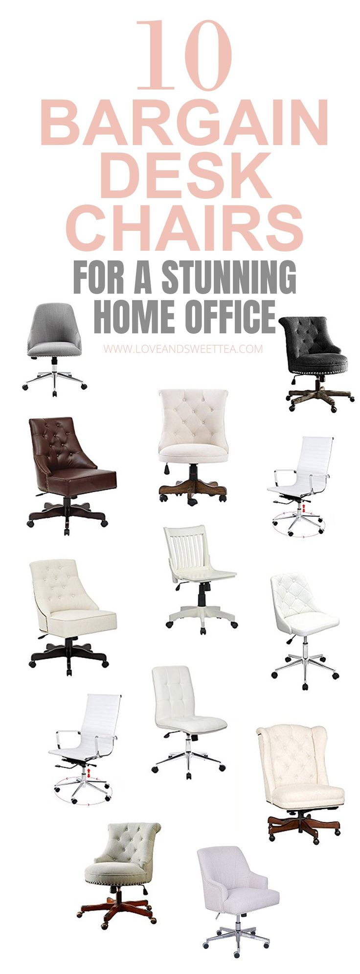Add those two things together (pretty desk chair + comfy desk chair), and you bet I'm doing some intense shopping around for my next desk chair! I thought I'd compile a list of some of my favorite feminine desk chairs to save you some time on the hunt. (Because, let's be honest, I'm all about staying productive and meeting your goals!!) The best part? My budget is as low as possible, so all these desk chairs are under $250! Awesome right? I know! Click on over to see what I found!