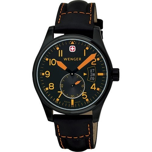 Wenger Swiss Military Watch 72473 Men Leather AeroGraph 10ATM
