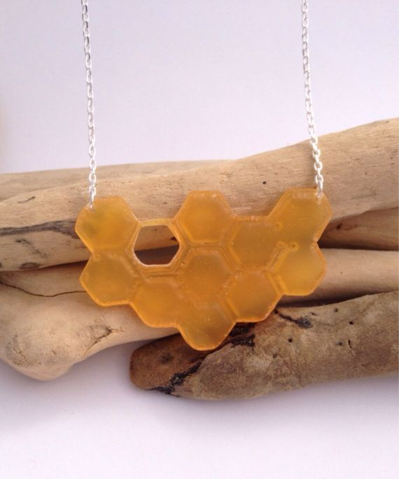 Handcrafted eco-resin save the bees honeycomb by PipandtheSea