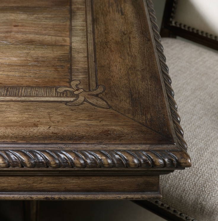 hooker furniture rhapsody traditional rectangle dining table with grand scale scroll base and two extension leaves missouri furniture dining room table - Hooker Furniture Outlet