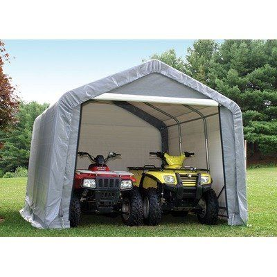 ShelterLogic Peak Style Double Wide Garage/Storage Shelter - Green, 28ft.L x 22ft.W x 13ft.H, 2 3/8in. Frame, Model# 82244 by ShelterLogic. $2258.79. Ripstop tough advanced engineered polyethylene fabric cover, doors and end panels. Triple-layer 9-oz.-per sq. meter woven fabric is UV-treated inside outside and in between. Bolt-together hardware at every connection. Industrial grade 2 3/8in. steel frame construction. DuPont premium thermoset powder-coat finish resists r...
