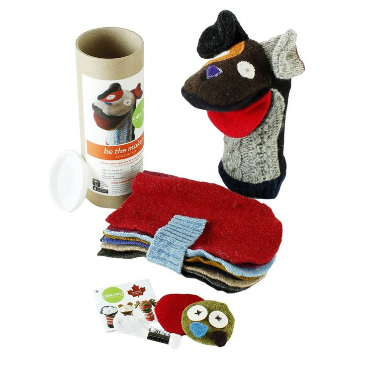 We LOVE being makers! Each kit includes everything needed to make a one-of-a- kind Cate and Levi puppet. And the best part...Zero Waste! When you have finished making your puppet, display proudly over the cardboard tube. If you want to give a gift of creativity, simply fill out the address sticker on the back of the tube and mail it.