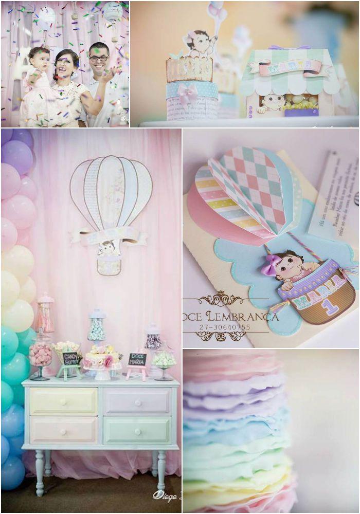Pastel Rainbow Hot Air Balloon Party Planning Ideas