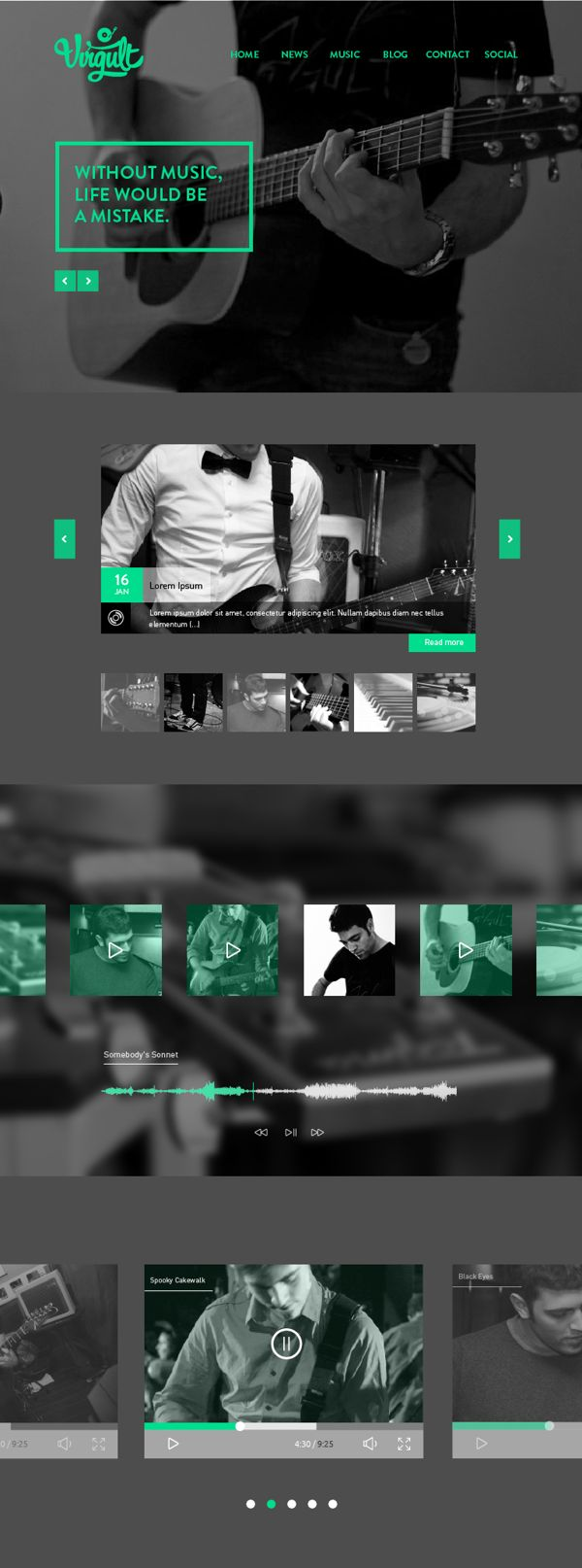 Unique Web Design, Virgult #WebDesign #Design (http://www.pinterest.com/aldenchong/) ________________________ Great choice of color. The B & W images work well with the cool green.
