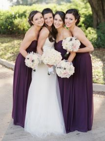Rich purple bridesmaid gowns: http://www.stylemepretty.com/texas-weddings/dallas/2015/08/27/classic-southern-wedding-3/ | Photography: Sarah Kate - http://sarahkatephoto.com/