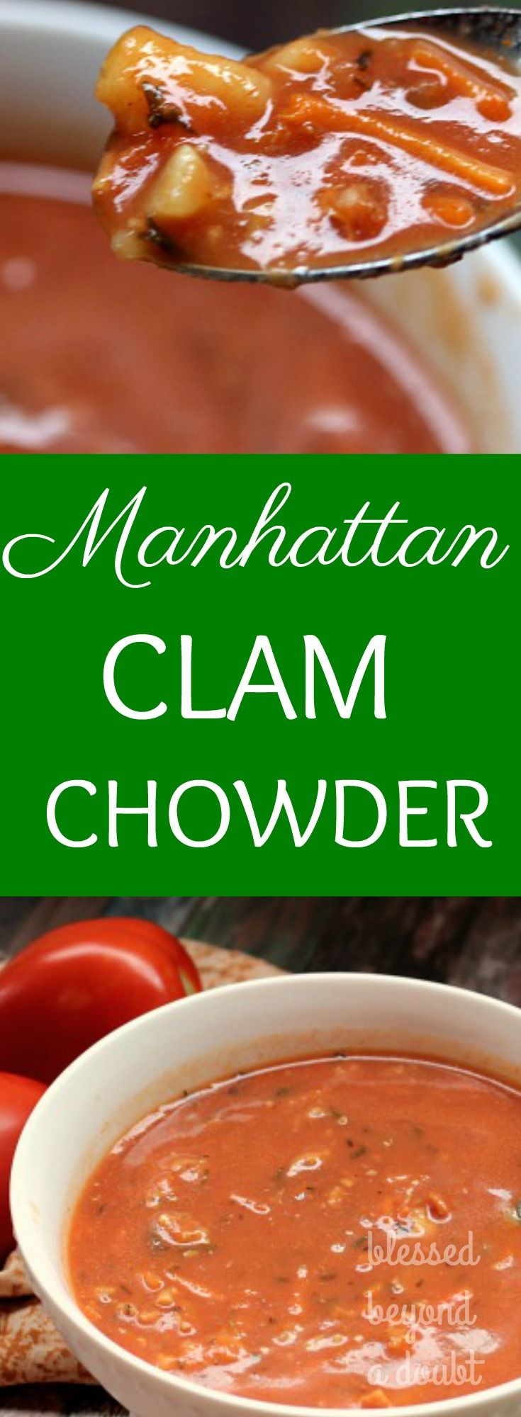 This is my favorite Manhattan Clam Chowder soup recipe. It's so tasty and so simple to make. My kids even liked it. Just serve with bread and a salad.