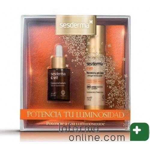 PACK POTENCIA TU LUMINOSIDAD C-VIT LIPOSOMAL SERUM 3 mL. Y C-VIT CREMA GEL REVITALIZANTE 50 mL. SESDERMA El fotoenvejecimiento hace que la piel pierda luminosidad y aparezcan imperfecciones, manchas, arrugas, etc. El pack C-Vit de sesderma, ayuda a revertir los daños gracias a los beneficios del ANTIOX BOOSTER SYSTEM, un combinado de antioxidantes que contiene el derivado de vitamina C más estable, así como extracto de gingkgo biloba, quercetina y pterostilbeno.