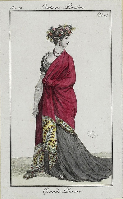 "Fashion plate with shawl ""Grande Parure""  An 12,  Costumes Parisien 1803-1804"