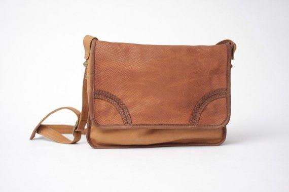 Cobra Tan Leather Satchel Bag on Etsy, $170.00
