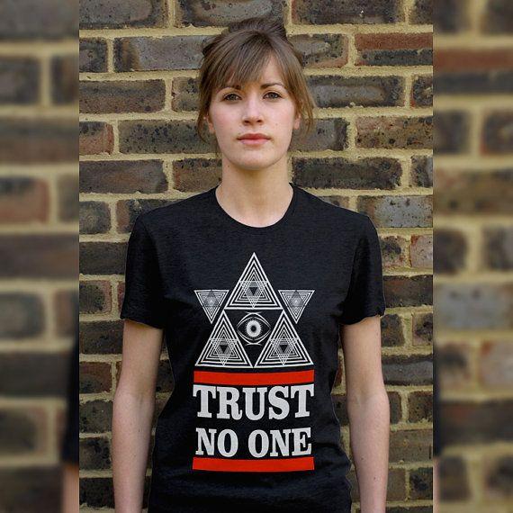 Trust No One Pyramid Eye Illuminati Women's T-Shirts by OnTShirt