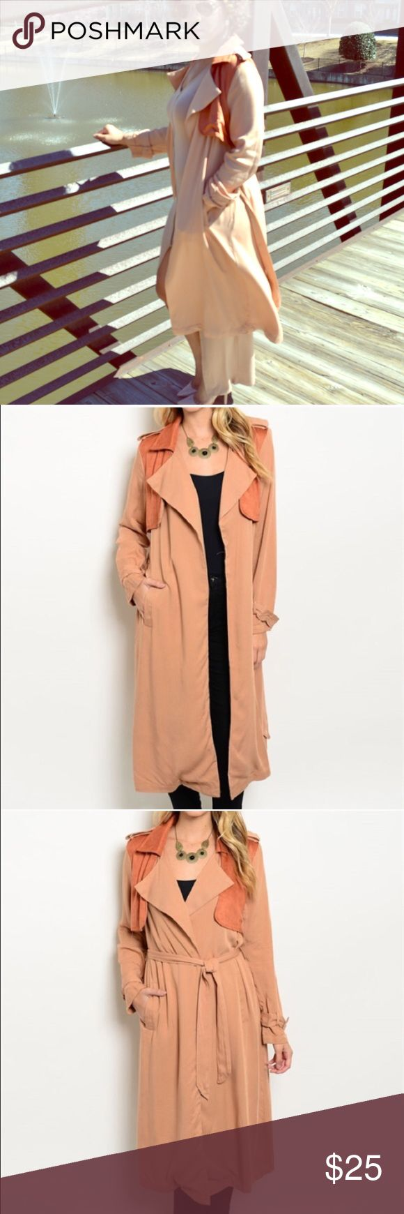 Lightweight Trench Coat Khaki and orange colored lightweight trench coat with knee length hem, hidden pockets, contrast colored panels and open front Jackets & Coats Trench Coats