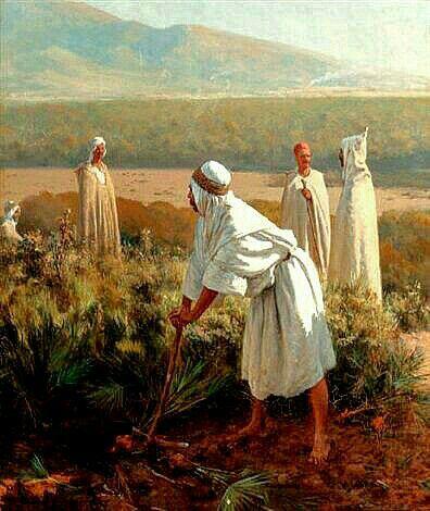 Peinture d'Algérie - Peintre Français, Paul Jean Baptiste Lazerges (1845-1902), Huile sur toile, Titre:  Dans le désert.