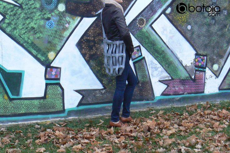 grey shoulder street bag with eco bag inside version www.botoia.com