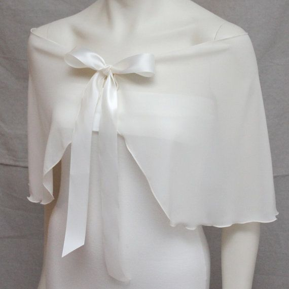 Hey, I found this really awesome Etsy listing at https://www.etsy.com/listing/177165605/ivory-chiffon-wedding-capelet-shawl