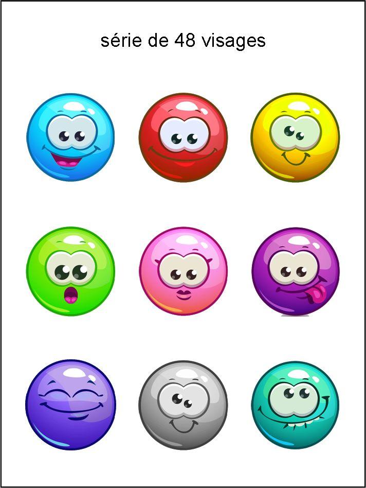 émoticônes, smileys, cliparts, visage rond, jaune, vert, rouge, bleu, rose, violet, orange, gris, brillant, glossy, heureux, rire, sourire, content, satisfait, triste, étonné, grimace, dent, langue, surpris, téléchargement, gratuit, séries, collections