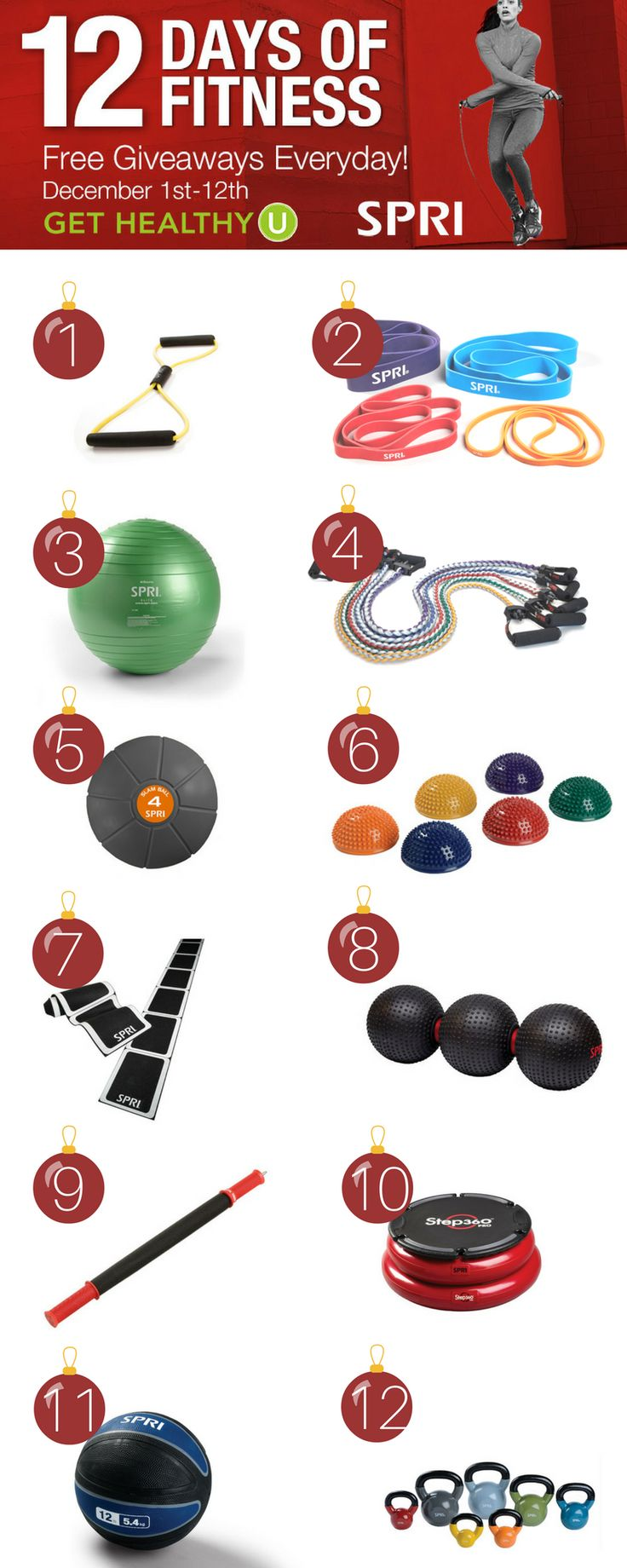 Get Ready- it's the 2nd annual 12 DAYS OF FITNESS with SPRI products and GET HEALTHY U !  Everyday for 12 days we will come LIVE on our facebook page around 8am CST  to demonstrate a fun piece of fitness equipment for you to use at home!  Everyday there will be discounts and a lucky winner.   Join in on the fun starting THURSDAY Dec 1st !