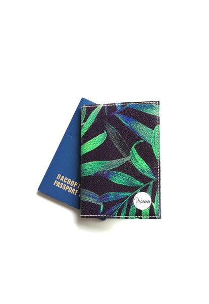 Universaltäschchen - Reisepass Hülle Dunkel Tropische Blätter - ein Designerstück von Pabawa bei DaWanda