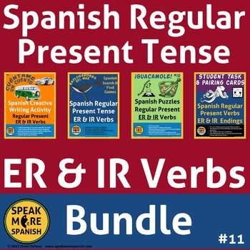 Spanish Regular ER & IR Present Verbs Bundle. Verbos regulares IR, ER en Español. These full lesson plans are for individual sale in our store. Save over 50% when you buy this bundle! Enough games, activities, and worksheets for multiple lesson plans.