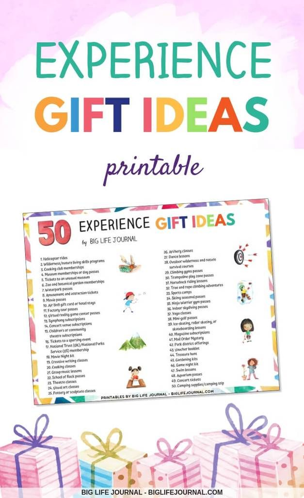 50 Experience Gift Ideas For Families Children Experience Gifts Adventure Gifts Christmas Experiences