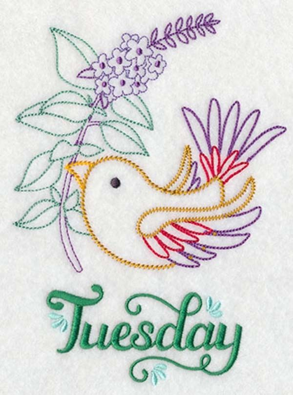 Birds and Herbs  Days of the Week Embroidered Flour sack  Dish and Hand Towels in Home & Garden, Kitchen, Dining & Bar, Linens & Textiles, Towels & Dishcloths   eBay