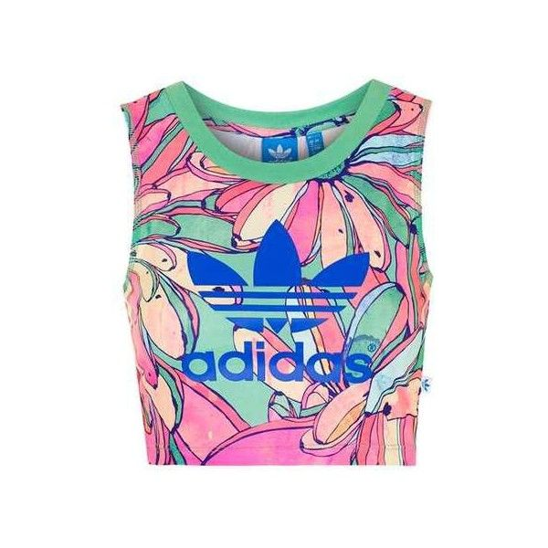 Cropped Tank by Adidas Originals (105 BRL) ❤ liked on Polyvore featuring tops, jersey tank, sport crop top, jersey tank top, jersey top and topshop tops