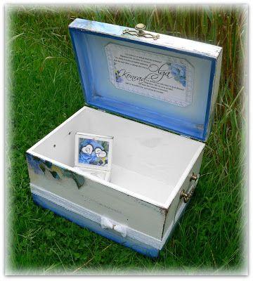 wedding box, hand made wedding box, blue flower wedding box, wedding card box, memory box