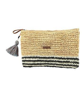 Barts Strooien clutch met dessin, model Oak Clutch. Deze zomerse tas is voorzien van voering en af te sluiten met een rits. Afmeting ca 31 x 24 cm. Zwart dessin - NummerZestien.eu